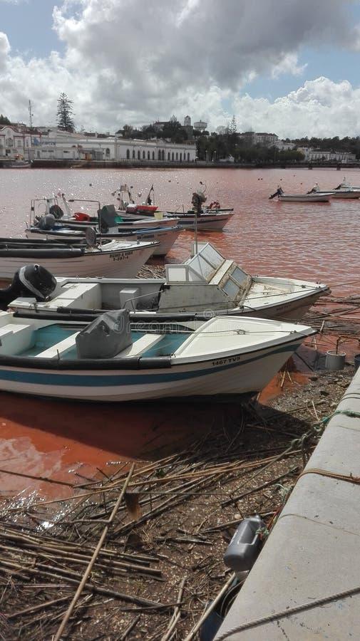 Rio Gilao Tavira en la inundación fotos de archivo libres de regalías