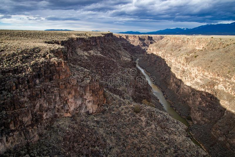 Rio grand gorge bridge taos new mexico. Southwest desert landscape view from the rio grande bridge - deep canyon nature southwestern landscape royalty free stock photos