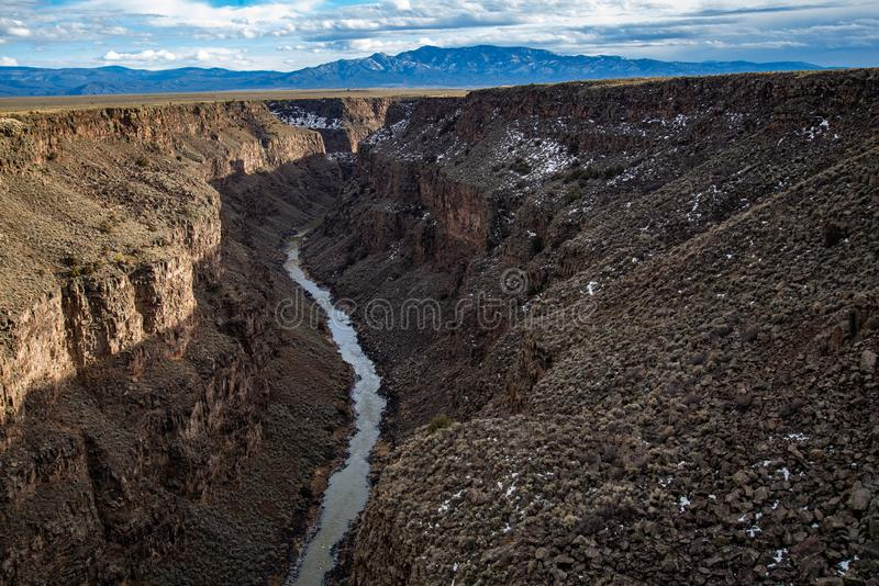 Rio grand gorge bridge taos new mexico. Southwest desert landscape view from the rio grande bridge - deep canyon nature southwestern landscape stock photo