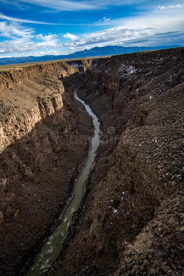 Rio grand gorge bridge taos new mexico. Southwest desert landscape view from the rio grande bridge - deep canyon nature southwestern landscape stock photography