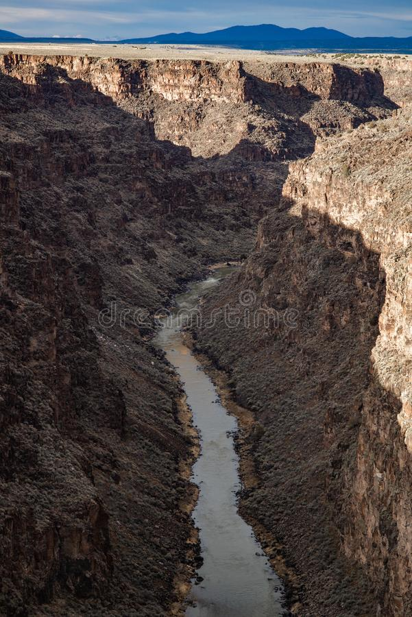 Rio grand gorge bridge taos new mexico. Southwest desert landscape view from the rio grande bridge - deep canyon nature southwestern landscape stock photo