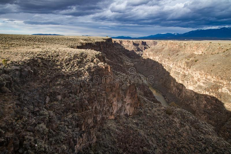 Rio grand gorge bridge taos new mexico. Southwest desert landscape view from the rio grande bridge - deep canyon nature southwestern landscape royalty free stock images