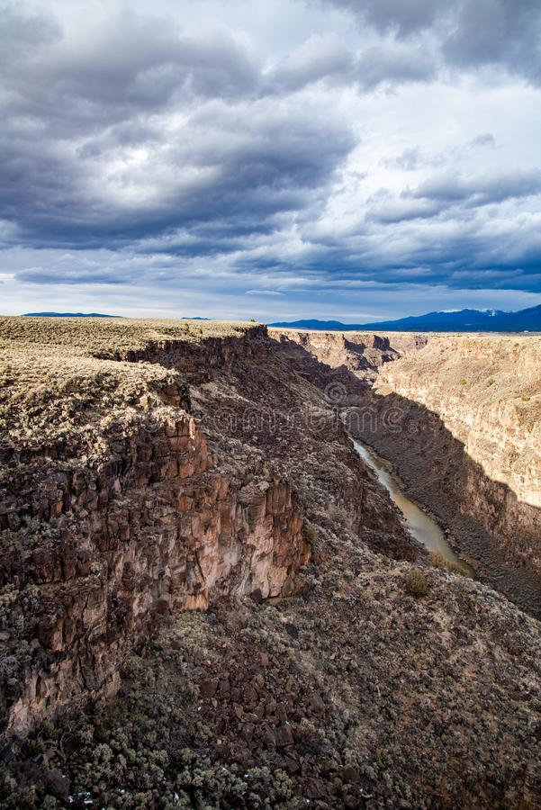 Rio grand gorge bridge taos new mexico. Southwest desert landscape view from the rio grande bridge - deep canyon nature southwestern landscape stock photography