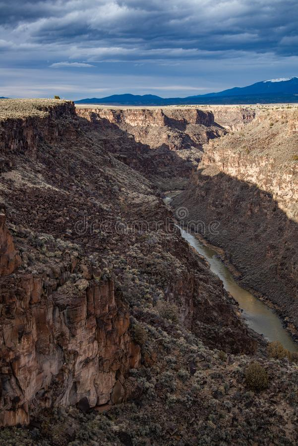 Rio grand gorge bridge taos new mexico. Southwest desert landscape view from the rio grande bridge - deep canyon nature southwestern landscape stock photos