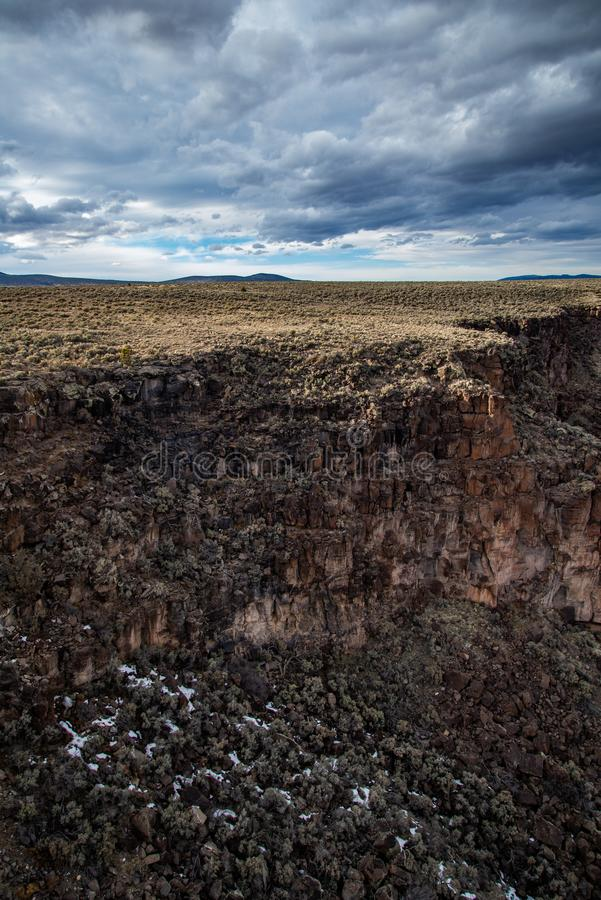 Rio grand gorge bridge taos new mexico. Southwest desert landscape view from the rio grande bridge - deep canyon nature southwestern landscape royalty free stock photography