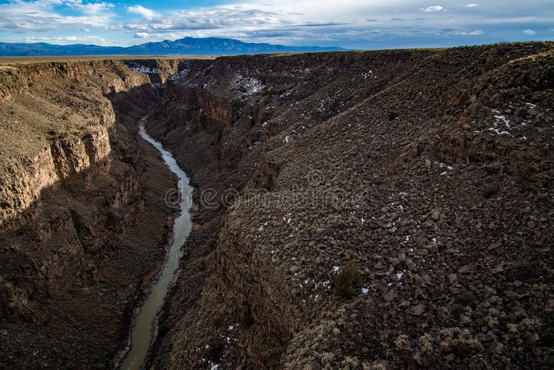 Rio grand gorge bridge taos new mexico. Southwest desert landscape view from the rio grande bridge - deep canyon nature southwestern landscape stock image