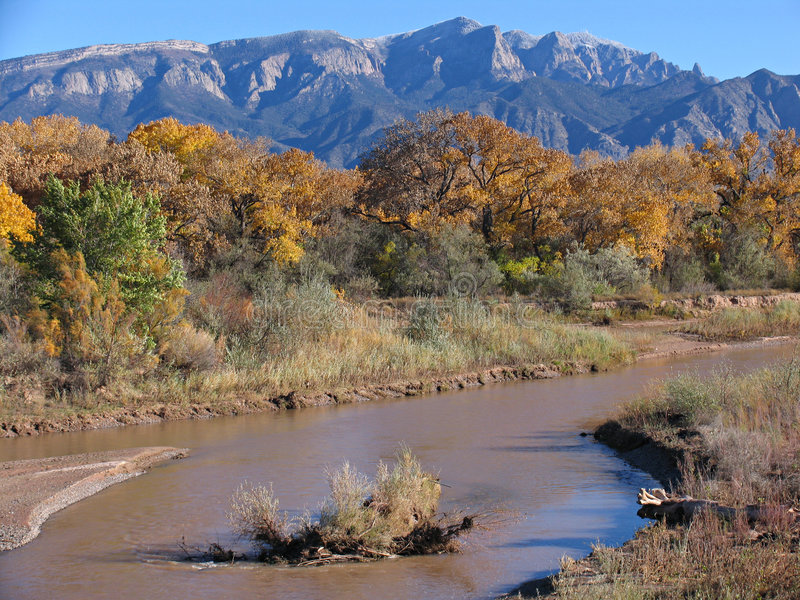 Rio Grande. River, near Sandia Peak, New Mexico, USA