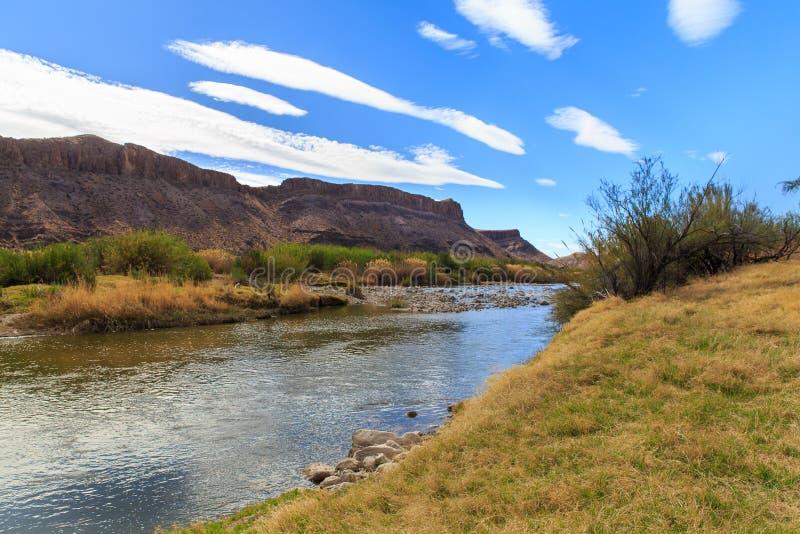 The Rio Grande along the Texas Mexico Border. The river that divides the Texas and Mexico border on a spring day stock photo