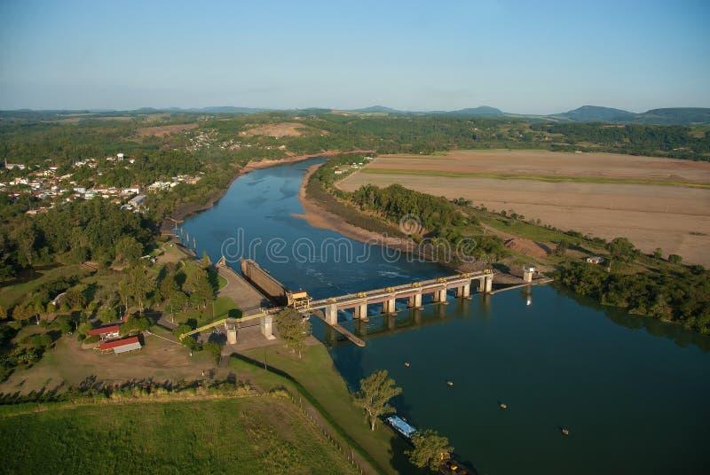 Dam and sluice gate of Bom Retiro do Sul. Rio Grande do Sul, Brazil, August 17, 2006. Aerial view of the dam and sluice gate of Bom Retiro do Sul, on the river royalty free stock images
