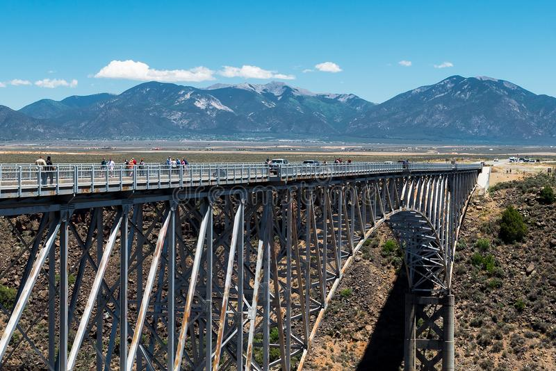 Rio Grande Gorge Bridge, near Taos, New Mexico. Mountains and Blue Skies royalty free stock photo
