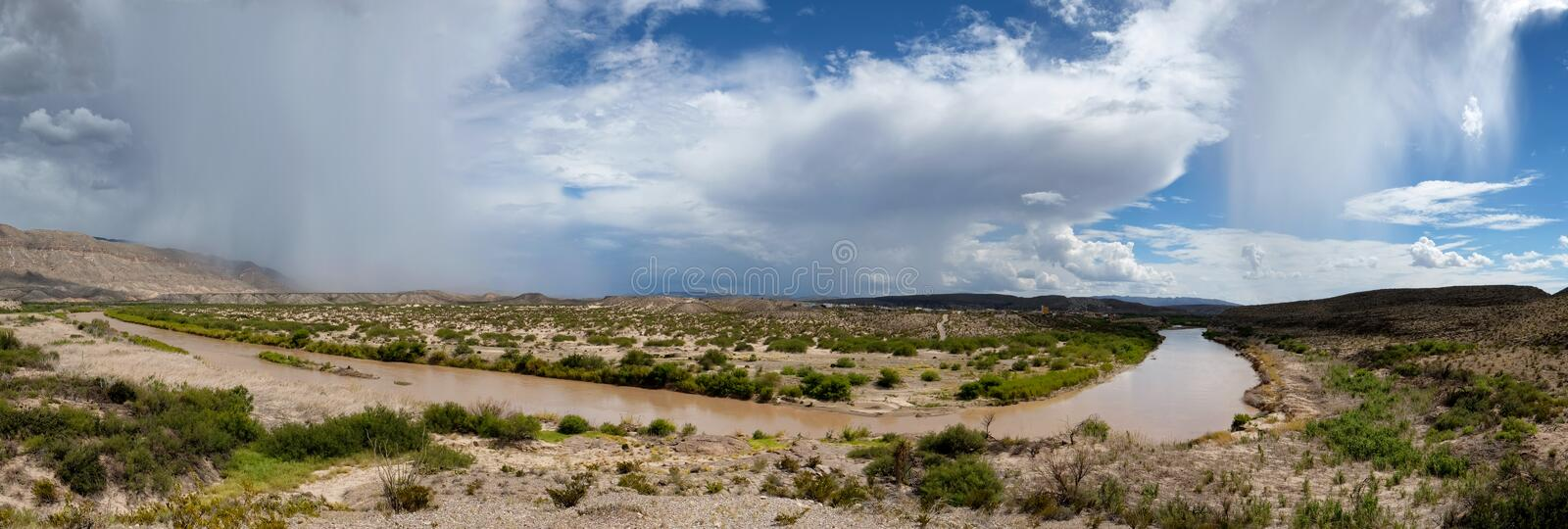 Rio Grande Panoramic. The Rio Grande snakes between Texas and Mexico in this sweeping panoramic royalty free stock photography