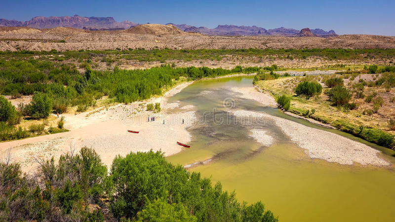 Rio Grande River at Big Bend National Park. Rio Grande river flows through Santa Elena Canyon at Big Bend National Park royalty free stock images
