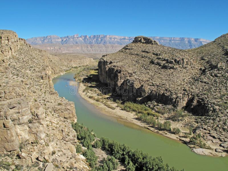 Rio Grande River flowing through a Canyon along the Mexican border, Big Bend National Park, Texas, USA. Rio Grande River flowing through a Canyon along the stock photo