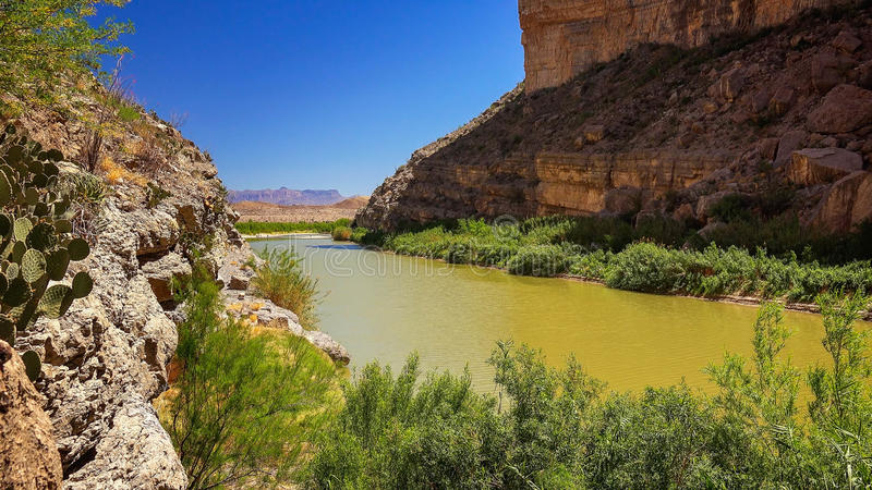 Rio Grande River and Santa Elena Canyon at Big Bend National Par. Rio Grande river flows through Santa Elena Canyon at Big Bend National Park royalty free stock image