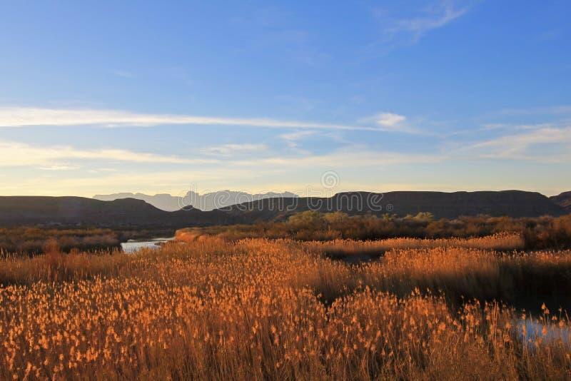 Rio Grande River som flödar till och med den stora krökningnationalparken på solnedgången, USA arkivbilder