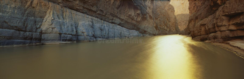 Rio Grande River, Texas/Mexico border. This is the Rio Grande River on the Mexico/U.S. Border. It is located at Santa Elana Canyon in Texas. The river flows in royalty free stock photo