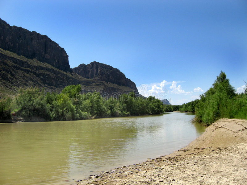 Rio Grande in Texas. Rio Grande near Santa Elena Canyon in Big Bend National ark in Texas royalty free stock photo