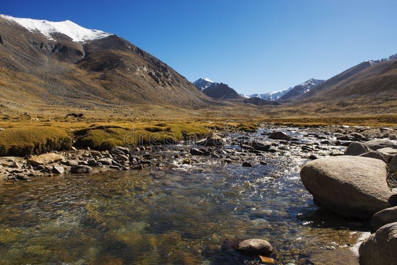 Rio Himalaia na maneira ao vale do nubra de Ladakh, Índia imagens de stock royalty free