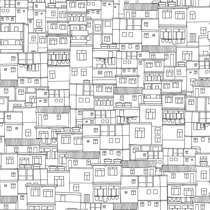 Rio houses seamless pattern royalty free illustration