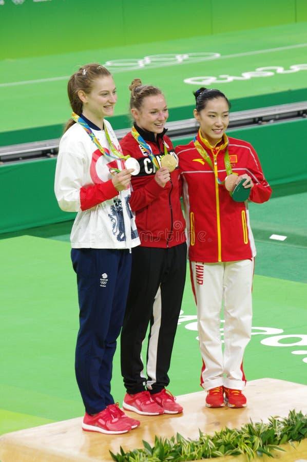 Rio2016 kobiet trampolene medaliści obraz stock