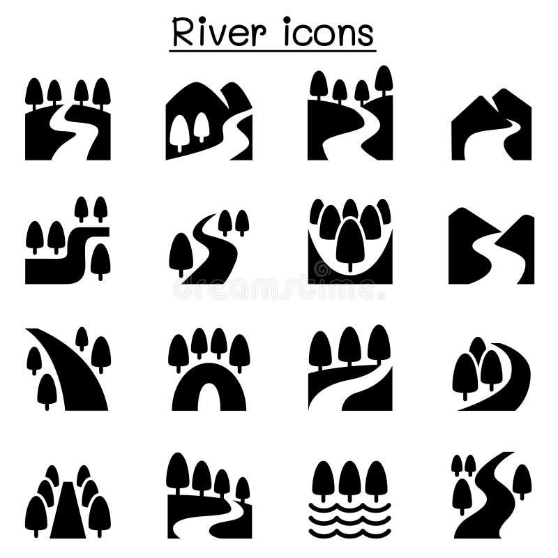 Rio, lago, ícones da natureza do canal ajustados ilustração royalty free