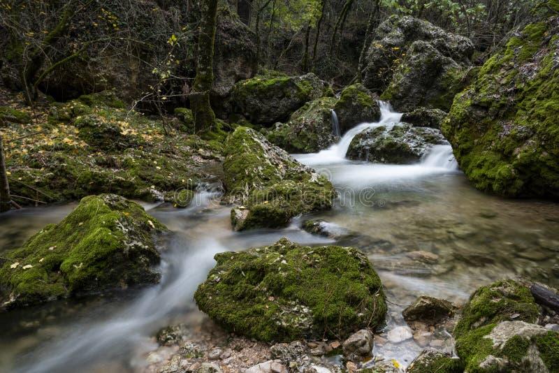 Rio Mundo źródło, Naturalny park Los Calares Del rÃo Mundo y De Los angeles Sima, sierra de Alcaraz y del Segura, Albacete prowin obrazy royalty free