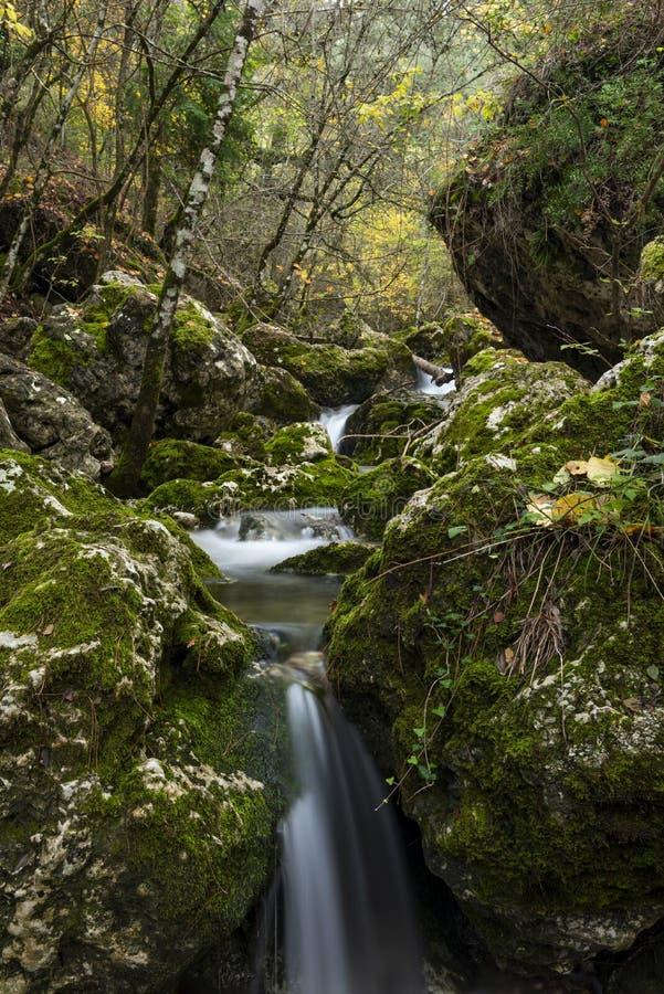 Rio Mundo-bron, Natuurreservaat Los Calares del rÃo Mundo y DE La Sima royalty-vrije stock foto's