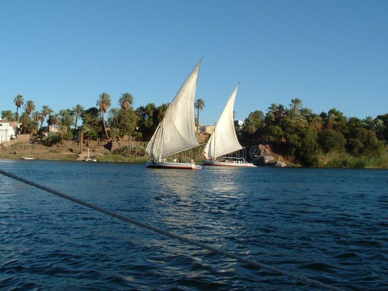 Rio Nile Egypt em um Felucca fotografia de stock
