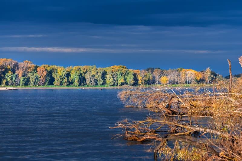 Rio Ob, outono Região de Sibéria ocidental, Novosibirsk, Suzun fotografia de stock royalty free