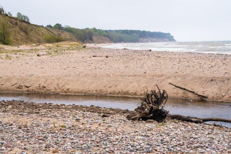 Rio pequeno com coto na costa rochosa imagem de stock royalty free