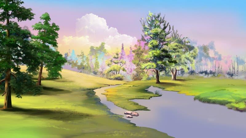 Rio pequeno em Autumn Weather quieto ilustração do vetor