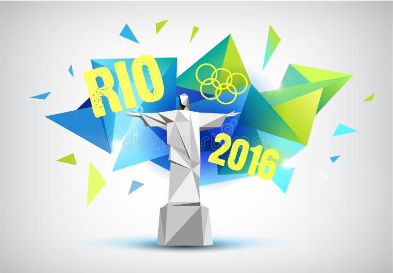 Rio-Plakat 2016, bannr mit Statue und facettierter Hintergrund lizenzfreie abbildung