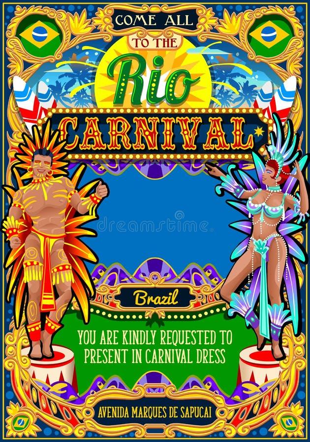 Rio plakata ramy Brazylia Carnaval maski przedstawienia Karnawałowa parada royalty ilustracja