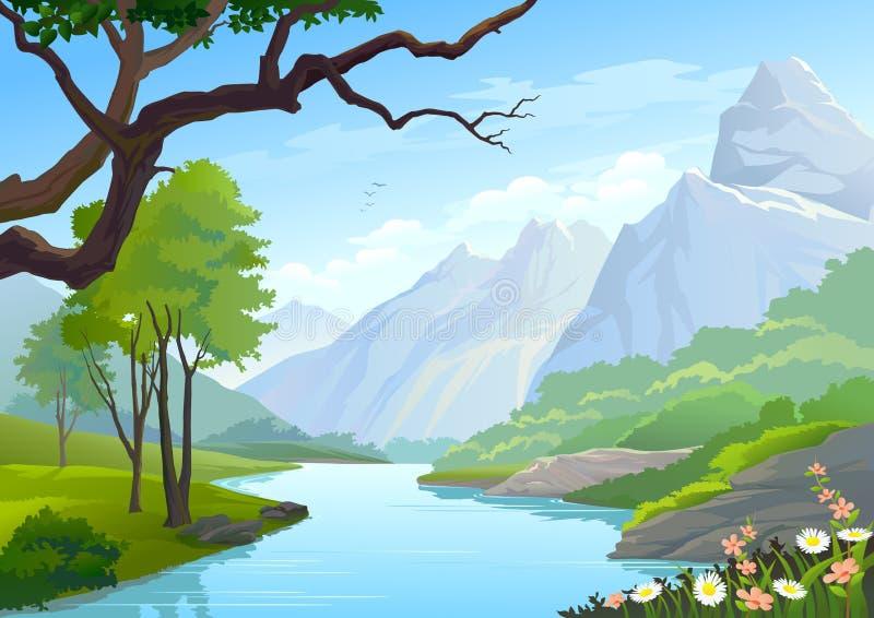 Rio que corre através de montes e de montanha ilustração stock