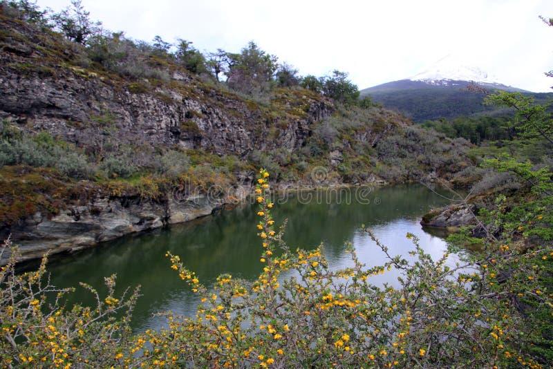 Rio que flui entre as montanhas imagens de stock