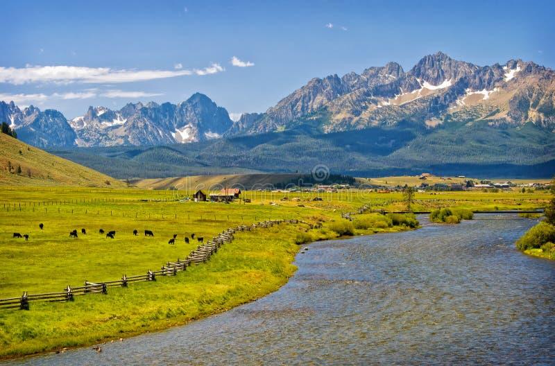 Rio, rancho e montanhas, Idaho imagens de stock