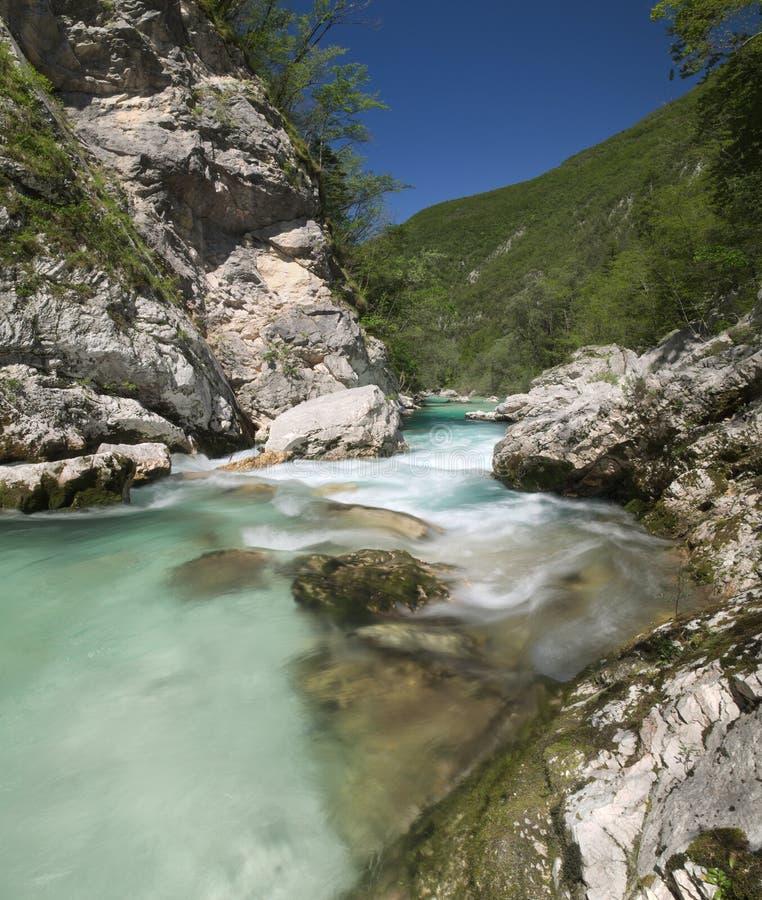 Rio selvagem nos cumes (Soca/Isonzo) imagem de stock