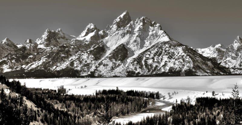 Rio Snake e escala de Teton foto de stock