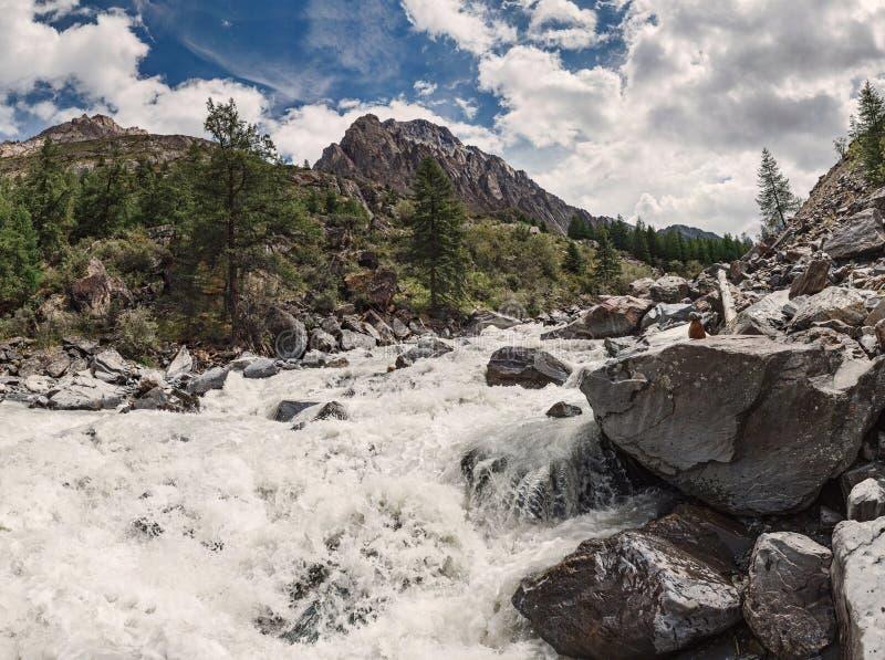 Rio Stormy nas montanhas de Altai imagens de stock royalty free