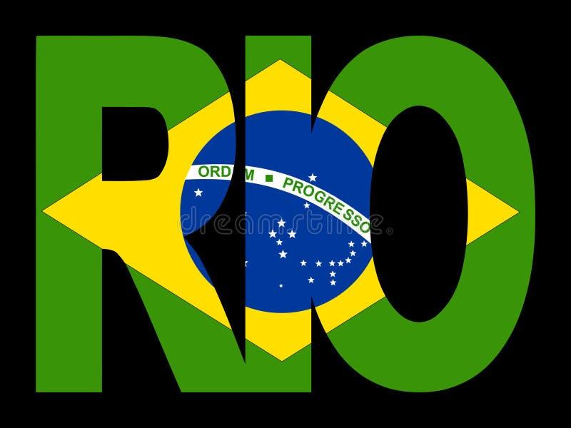 Rio text with Brazilian flag vector illustration