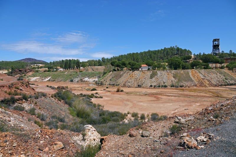 Rio Tinto-mijnlandschap dichtbij Nerva in Spanje royalty-vrije stock fotografie