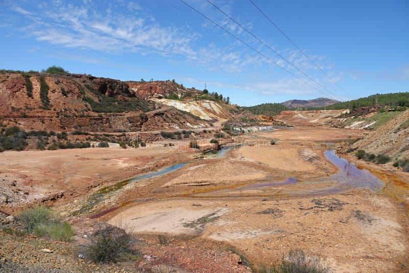 Rio Tinto rzeka blisko Nerva w Hiszpania zdjęcie stock