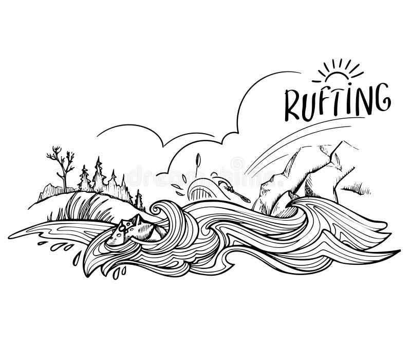 Rio tormentoso da montanha, montanhas e um monte coberto de vegetação com a grama e a ilustração tirada mão da floresta convertid ilustração stock