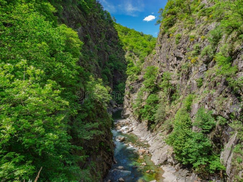 Rio Val Grande as seen from Casletto Bridge in Val Grande National Park. Piedmont, Italy stock photos