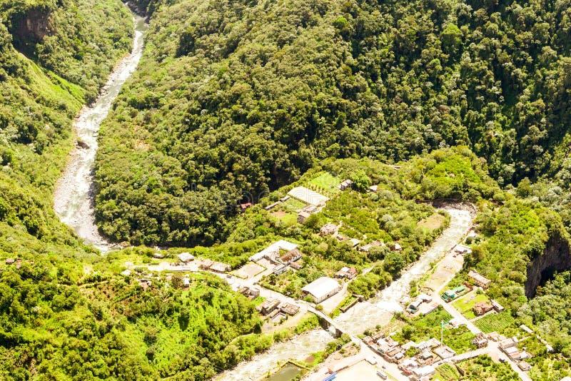 Rio Verde Tungurahua Aerial Shot royalty-vrije stock fotografie