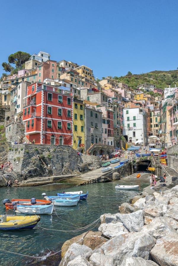 Riomaggiore, Cinque Terre, Italia immagine stock
