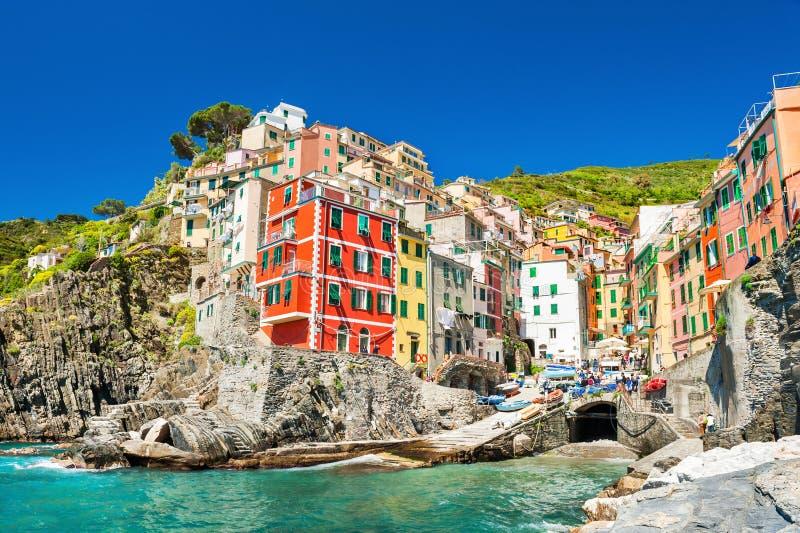 Riomaggiore, het nationale park van Cinque Terre, Italië stock afbeeldingen