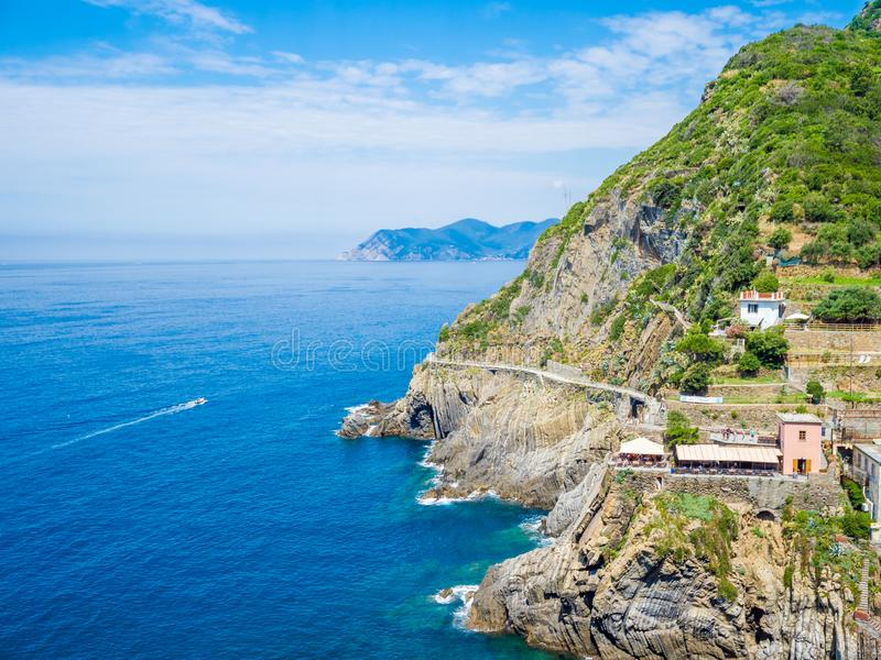 Riomaggiore, oud dorp in Cinque Terre, Italië royalty-vrije stock afbeeldingen