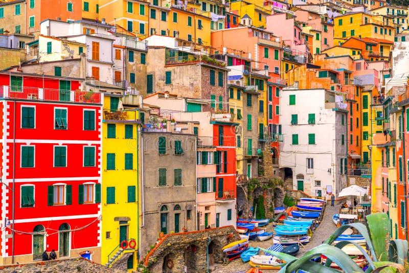Riomaggiore, parco nazionale di Cinque Terre, Liguria, Italia fotografia stock