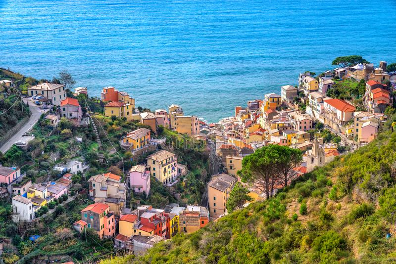 Riomaggiore, parque nacional de Cinque Terre, Liguria, Italia imagen de archivo